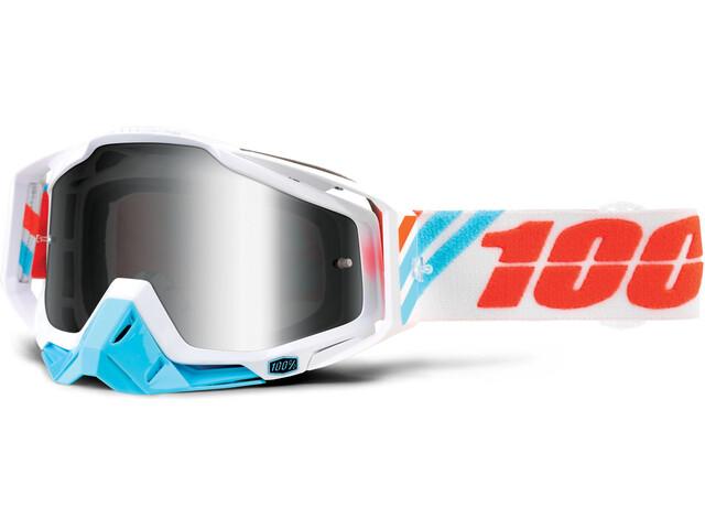 100% Racecraft Anti Fog Mirror Goggles hvid/turkis
